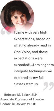 I came with very high expectations, based on what I'd already read in One Voice, and those expectations were exceeded!...I am eager to integrate techniques we explored as my fall classes start up.